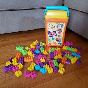 80 Pc Mega Blocks Building + Storage Bucket Duplo
